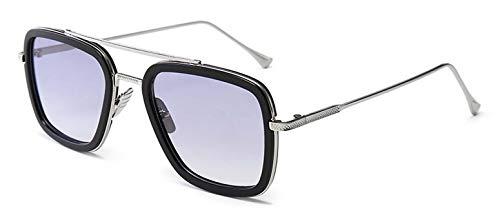 Lhkq occhiali da sole retrò iron man occhiali da sole quadrati con montatura in metallo occhiali tony stark adatti per uomo e donna