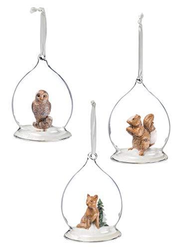 l, Eichhörnchen, Eule und Fuchs, aus Glas, 3er-Set, 11,4 cm hoch, Braun ()