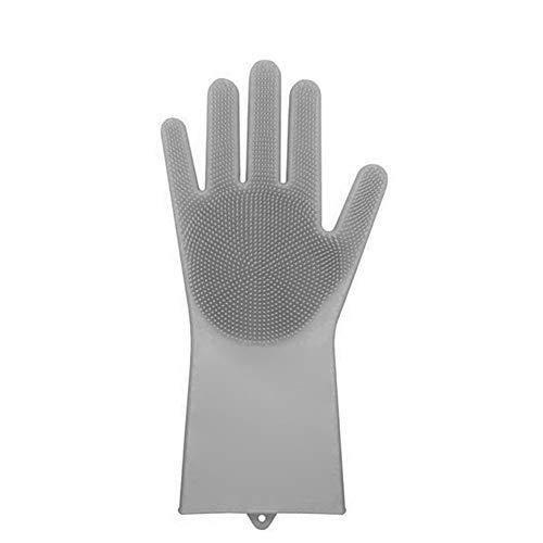 Guajave 1 x Magic Silikon Reinigungsbürste Schrubber Handschuhe Hitzebeständig Scrub Tool grau