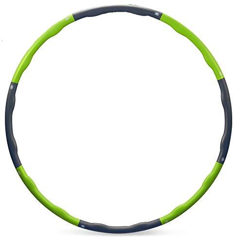 Hula Hoop zur Gewichtsreduktion,Reifen mit Schaumstoff 1,3 kg Gewichten Einstellbar Breit 48–88 cm beschwerter Hula-Hoop-Reifen für Fitness (4 Knoten Grün + Grau) mit Mini Bandmaß (Grün)