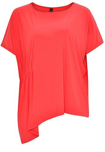 Yoek Damen Übergrößen T-shirt asymmetrisch Rot