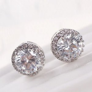 SLB Works Brand New Women Stud Earrings Diamond Zircon Round Boucle Wedding Jewelry Eearring Fashion