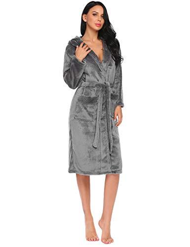 Hotouch Damen Robe Fleece mit Kapuze Bademantel Plüsch Kimono Robe mit Taschen Mittel Grau (Plüsch-kimono)