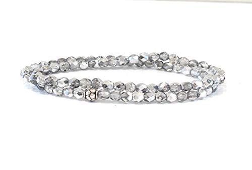 Perlenarmband einfarbig Armband aus Perlen silber schimmernd