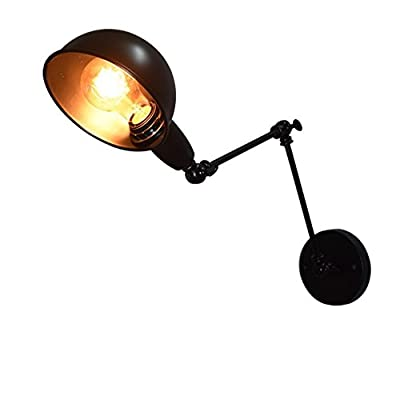Vintage Industrial Swing Arm Wall Light Adjustable Retro Wall Lamp Flexible Arm Wall Sconce with Black Metal Shade(220V-240V, Bulbs not Included) from egymcom