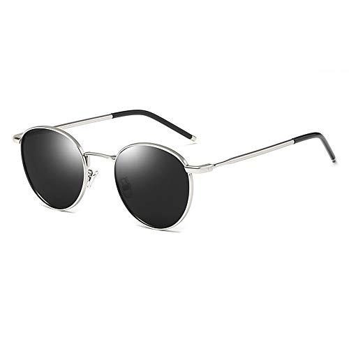 WRF Retro Trend Sonnenbrille Korean Fashion Ladies Round Frame Polarized Sonnenbrille Driving/Holiday/Reisen (Gold Frame Black Gray)