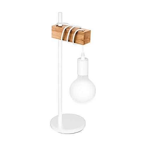 EGLO Tischlampe Townshend, 1 flammige Vintage Tischleuchte im Industrial Design, Retro Lampe, Nachttischlampe aus Stahl und Holz, Farbe: Weiß, braun, Fassung: E27, inkl. Schalter