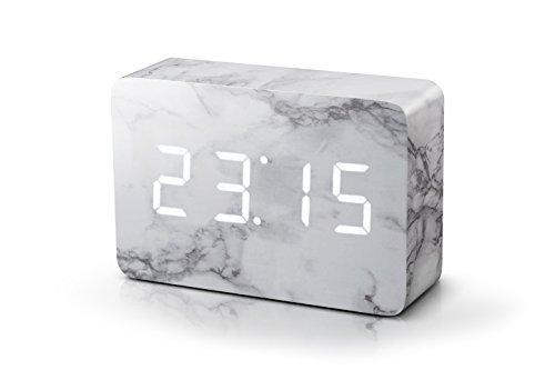 gingko-click-clock-reveil-brique-effet-marbre-led-blanc