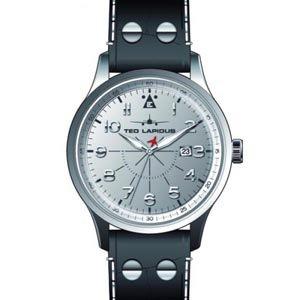 Ted Lapidus 5127902 - Reloj analógico de cuarzo para hombre con correa de piel, color negro