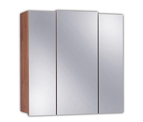 Posseik 5484-78 - Armario con 3 puertas y espejo para baño (68 x 71 x 20 cm), acabado nogal