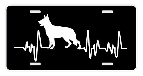 ThisWear German Shepherd License Plate Dog Lover Heartbeat German Shepherd  Accessories German Shepherd Lovers Gifts German 36029e5603e9