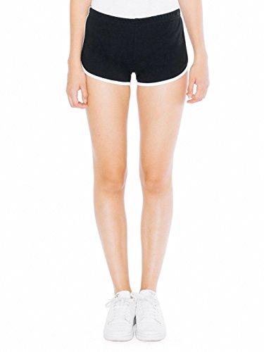 American Apparel Interlock Running Short - Black / White / M (American Apparel Running Shorts)