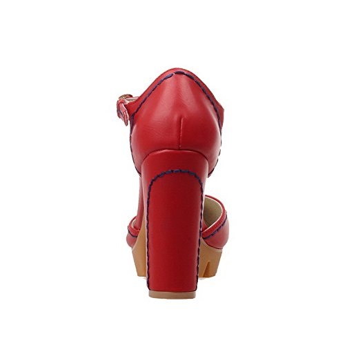 VogueZone009 Femme Rond à Talon Haut Matière Souple Couleur Unie Boucle Chaussures Légeres Rouge