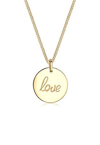 Elli Damen Schmuck Halskette Kette mit Anhänger Liebe Love Schriftzug Wording Silber 925 Vergoldet Länge 45 cm