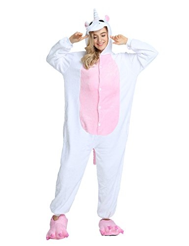 Adulte Kigurumi Unisexe Anime Animal Costume Cosplay Combinaison Pyjama ou Déguisement Licorne rose Taille S
