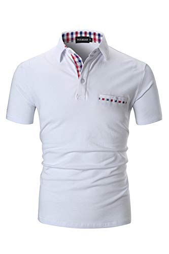 online store 66bfe 0ed50 YCUEUST Cotone Polo Uomo Lattice Manica Corta Basic Tennis Golf T-Shirt  Bianco M