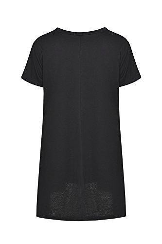 JOTHIN 2018 Girocollo Maniche Corte T-Shirt Giuntura a Balze Top Tinta Unita Classcia Felpa Eleganti Casual Magliette Donna Nero