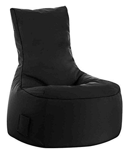 lifestyle4living Sitzsack für draußen in Schwarz aus wasserabweisendem Microfaserstoff | Bequemer Indoor/Outdoor Sitzsackstuhl mit Tasche, 300 l