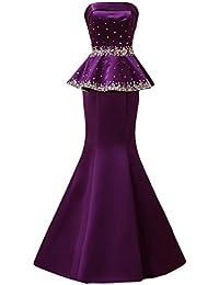 Toscana novia elegancia por la noche por la noche vestidos de satén de imitación de la