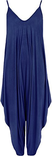 Friendz Trendz -Women Lagenlook Spielanzug Strappy Baggy Cami Harem Overall (ONE, ROYAL (Royal Jumpsuit Blue Womens)