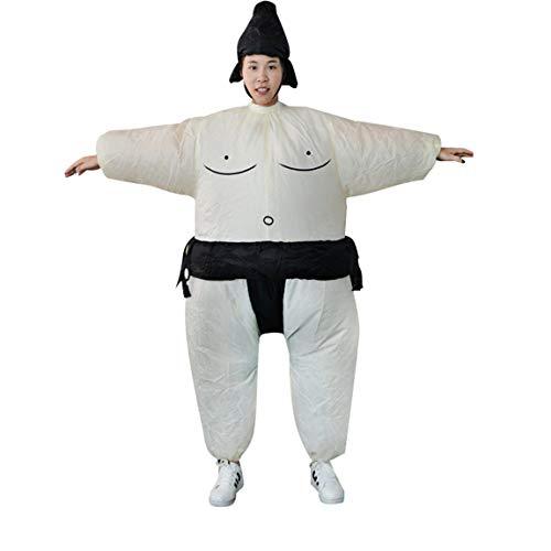 73JohnPol Fan aufblasbare Sumo Kleid Neuheit Fat Man und Frau Suite Fat Masked Suit Fancy Blow Up Kleid Wrestler Kostüm (Farbe: weiß & schwarz) (Blow Fat Up Suit)