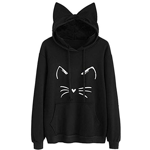 Anglewolf Tops Womens Cat Ear Solid Long Sleeve Outfits Hoodie Sweatshirt Hooded Pullover Tops Pure Color Blouse Cute Home Clothes Regular Fashion Ladies Autumn Winter Sweatshirt