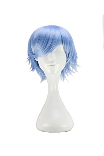 nnlich Kurze Japanische Kostüm Cosplay Jungen Hellblau 32 Cm Hitzebeständige Synthetische Haar Perücken 14 inch (Indianer Kostüm Männlich)