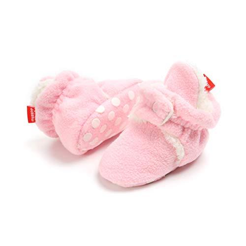 EDOTON Unisex Neugeborenes Schneestiefel Weiche Sohlen Streifen Bootie Kleinkind Stiefel Niedlich Stiefel Socke Einstellbar (0-6 Monate, Rosa) (Winter Stiefel Rosa)