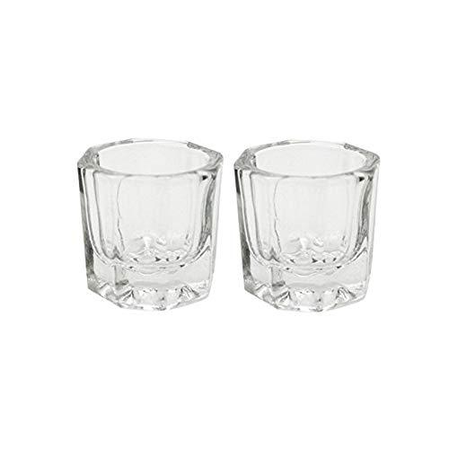 Yigo 2Pcs Octogonal Nail Acryl Flüssigkeit Cups Pulverklar Teller-Ersatz-Glaskristall Cups polnischen Glaswaren Werkzeuge