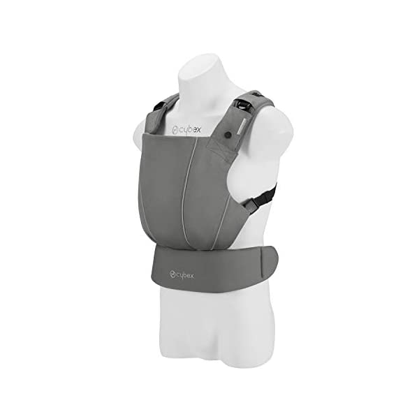 "CYBEX Gold MAIRA.click Ergonomic Baby Carrier, From birth to approx. 2 years (approx. 3.5 - 15 kg), 100% Cotton, Manhattan Grey  Comfortable and versatile adjustable baby carrier: For ergonomic carrying and healthy hip development in babies - Suitable from birth to approx. 2 years (approx. 3.5 - 15 kg), Recommended by the ""International Hip Dysplasia Institute"" Quick and easy putting on/taking off due to practical buckle system, Individually and continuously adjustable, Optimum wearing safety due to safety buckle on the waist belt Width and height-adjustable belt for individual adaptability, Multi-functional head and neck support, Promotes healthy development of the joints through natural squat position 1"