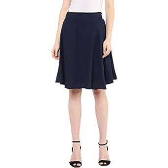 Mayra Women's Crepe Skirt (1610B09601_S, Blue,)