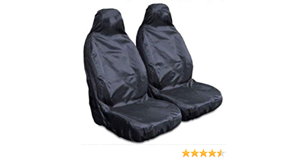 E For Vauxhall Corsa - Heavy Duty Black Pair Waterproof Car Front Seat Covers Protectors 2 x Fronts