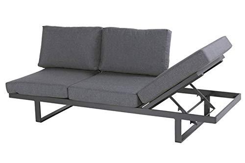 Hartman Picardy Bank/Liege in xerix/ash Grey aus Aluminium & Olefin, 205x75cm, Kopfteil Links verstellbar, Gartencouch Lounge