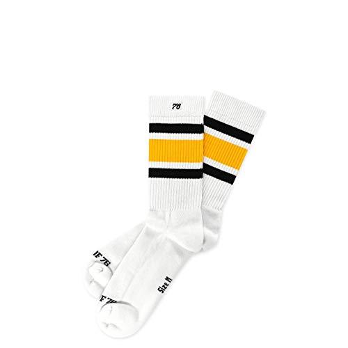Spirit of 76 Black 'N Yellow Lo | Halbhohe Retro Socken mit Streifen | Weiß, Schwarz & Gelb gestreift | knöchelhoch | stylische Unisex Ringelsocken Größe M (39-42) -