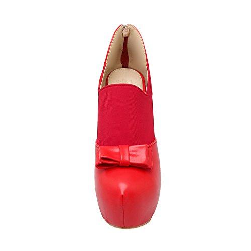 YE Damen High Heels Stiletto Plateau Geschlossen Pumps mit Schleife Elegant Modern Schuhe Rot