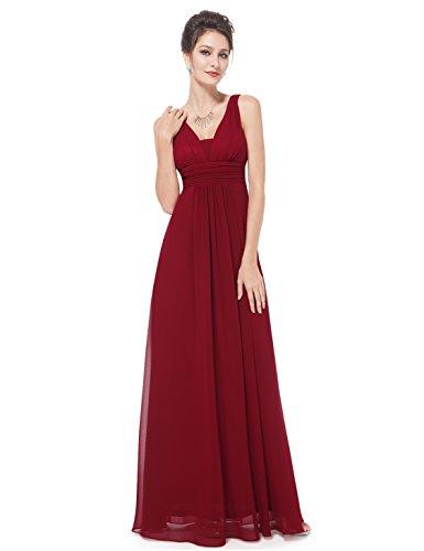 Ever Pretty Damen Chiffon V-Ausschnitt Lang Abendkleider Abschlussball Kleider 08110 Burgundy