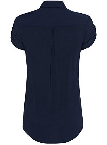 oodji Ultra Femme Blouse en Viscose avec Poches Poitrine Bleu (7900N)