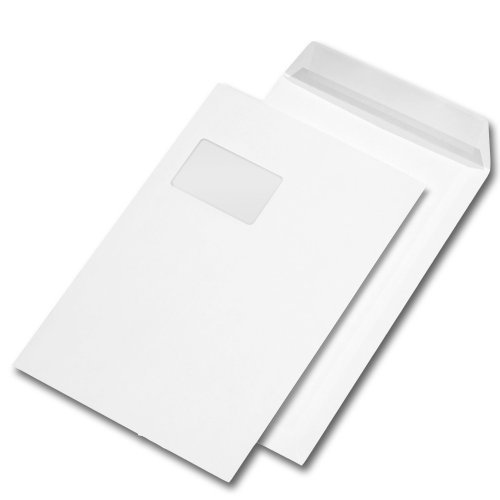 250 Versandtaschen C4 229 x 324 mm, haftklebend, mit Fenster, 90g/qm