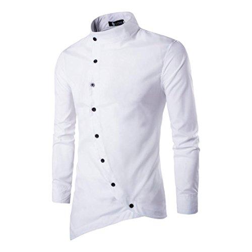 Hombres vestido casual irregular Slim Fit manga larga camisa de fiesta con estilo By LMMVP (Blanco, M)