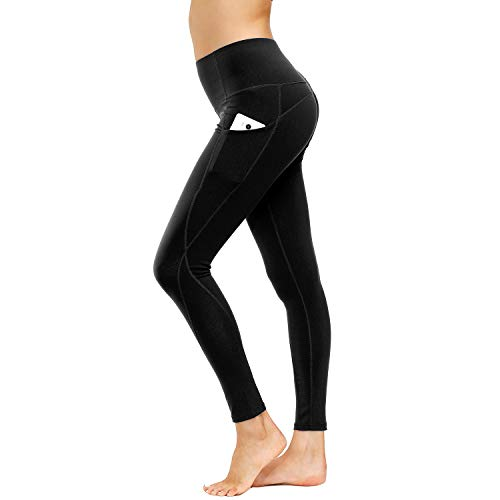HMIYA Sporthose Damen, Sport Leggings Laufhose Fitnesshose Tights Yoga Hose mit Taschen(Schwarz,M)