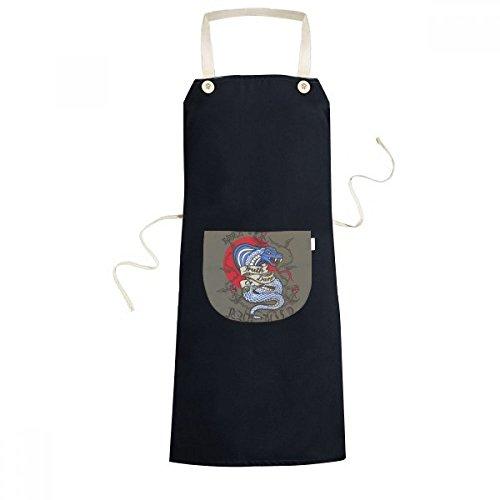 beatChong Tierbiss Schlange Kombinationsmuster Kochen Küche Schwarz Einstellbarer Latzschürze Taschen Frauen Männer Chef-Geschenk (Männer Schlange Beißt)