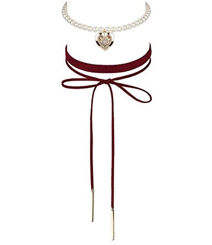 SIX Oktoberfest 2er Set Kurze Damen Halsketten, Choker, Zwei Rote Textil-Bänder, Schleife, weiße Perlen, goldenes Herz, Edelweiß (730-504)