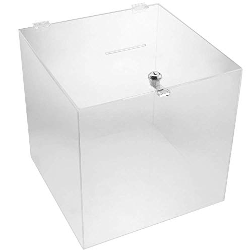 PrimeMatik - Urna Scatola in metacrilato Trasparente con Chiave di Sicurezza 30x30x30 cm