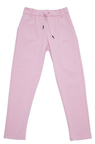 Damen elegante Hose mit Kordelzug Damenhose Stretch High Waist Damenhose mit hohem Bund Pants Rosa