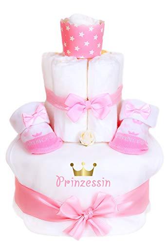 Trend Mama Windeltorte Romantik Look -Mädchen rosa -Prinzessin goldene Krone- Lätzchen Babysocken Socken-Muffin Haarband