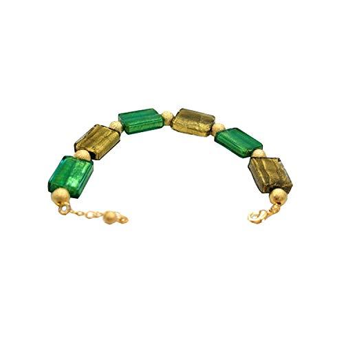 The Olivia Collection Grünlich & goldenes rechteckiges Glasperlen Armband von TOC -