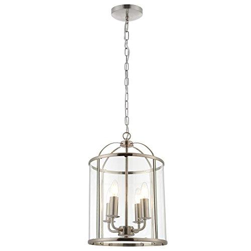 Satin-nickel Art (4 helles Satin-Nickel-hängendes Hallendeckel-Laternen-Licht mit Glasplatten)