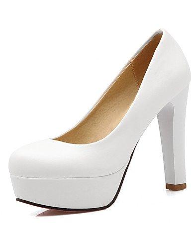 WSS 2016 Chaussures Femme-Bureau & Travail / Décontracté-Noir / Rose / Blanc-Gros Talon-Talons / Bout Arrondi-Talons-Polyuréthane white-us9.5-10 / eu41 / uk7.5-8 / cn42