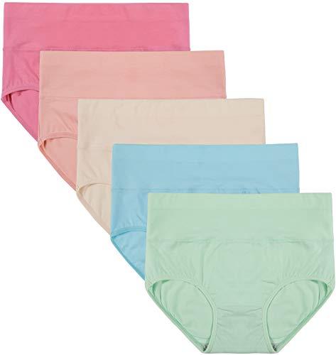 INNERSY Damen Unterwäsche 5Pack Hohe Taille Einfarbig Grundlegende Stil Tummy Control Cotton Briefs Höschen (3XL-EU 48, Color 5E) -