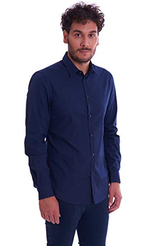 Trussardi jeans shirt slim trend collar print, camicia casual uomo, blu (blue navy u290), large (taglia produttore:41)
